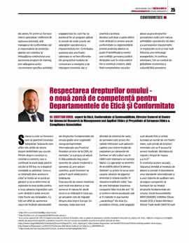 Cristian Ducu, Respectarea drepturilor omului — O nouă zonă de competență pentru Departamentele de Etică și Conformitate