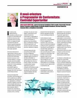 Oana Raluca Banateanu, O nouă orientare a Programelor de Conformitate: Controlul Exporturilor