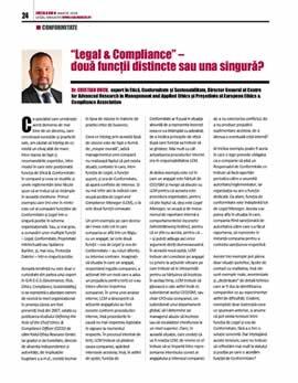 Cristian Ducu, Legal & Compliance - două funcții distincte sau una singură?